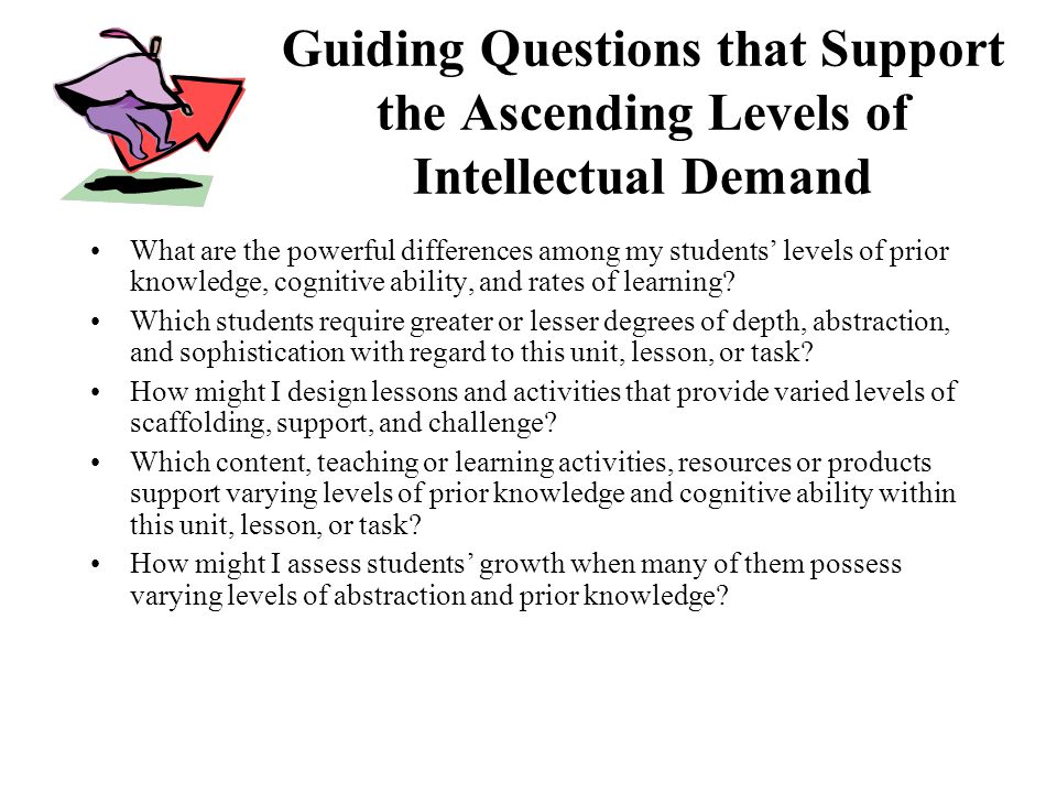 Guiding Questions that Support the Ascending Levels of Intellectual Demand