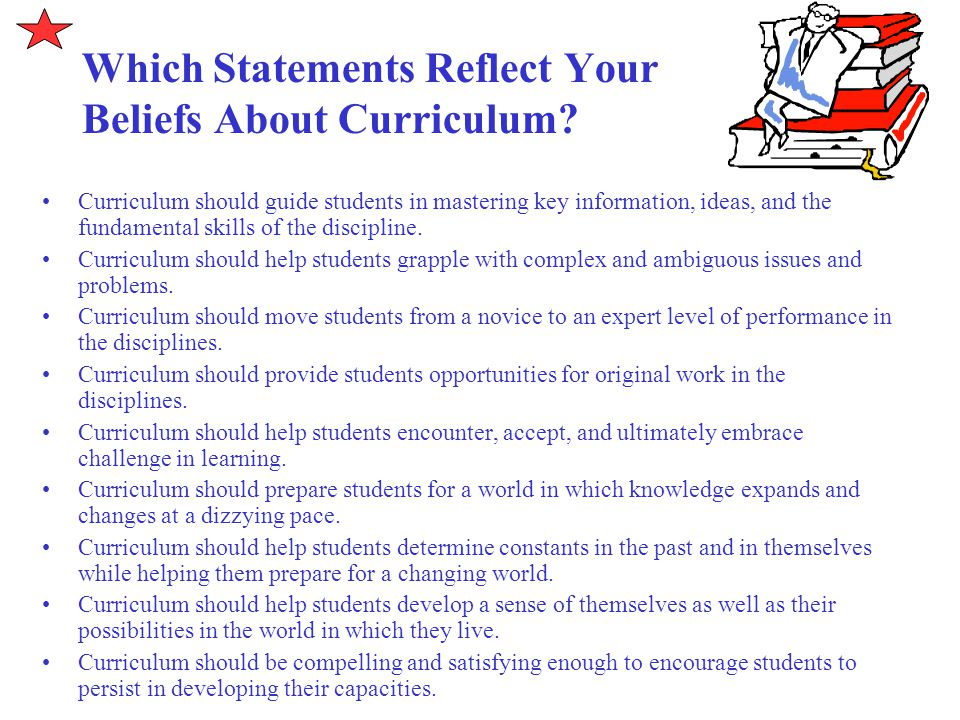 Which Statements Reflect Your Beliefs About Curriculum