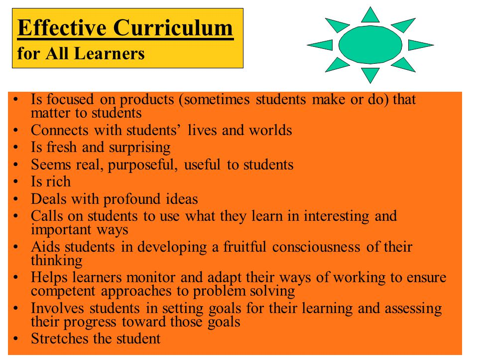 Effective Curriculum for All Learners