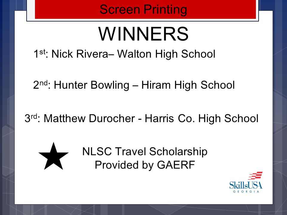 NLSC Travel Scholarship Provided by GAERF