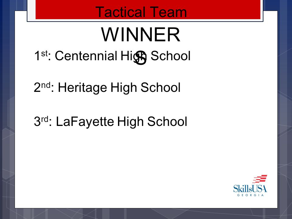 WINNERS Tactical Team 1st: Centennial High School