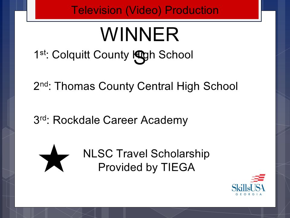 WINNERS Television (Video) Production 1st: Colquitt County High School