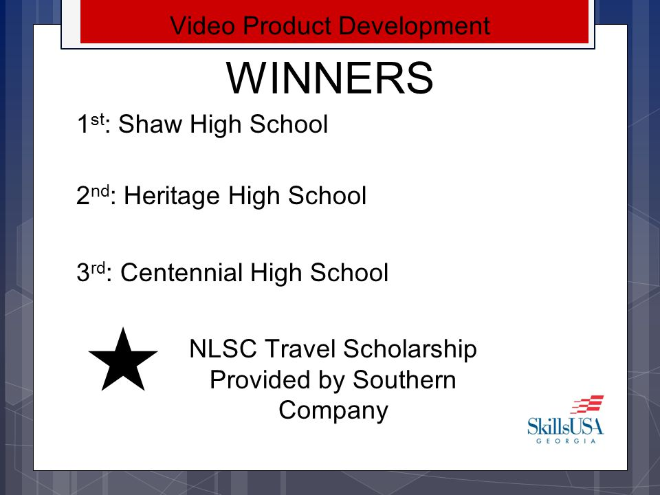 WINNERS Video Product Development 1st: Shaw High School