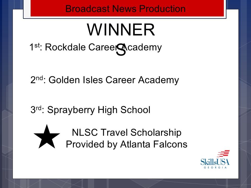 WINNERS Broadcast News Production 1st: Rockdale Career Academy