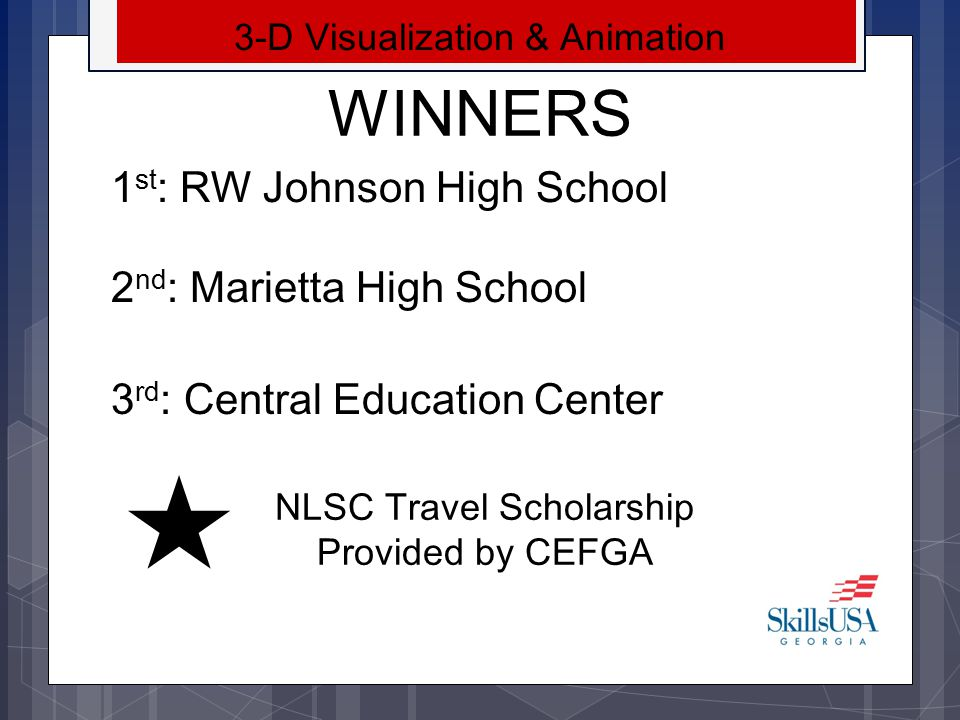 WINNERS 1st: RW Johnson High School 2nd: Marietta High School