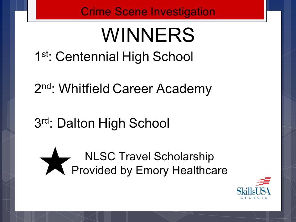 WINNERS 1st: Centennial High School 2nd: Whitfield Career Academy