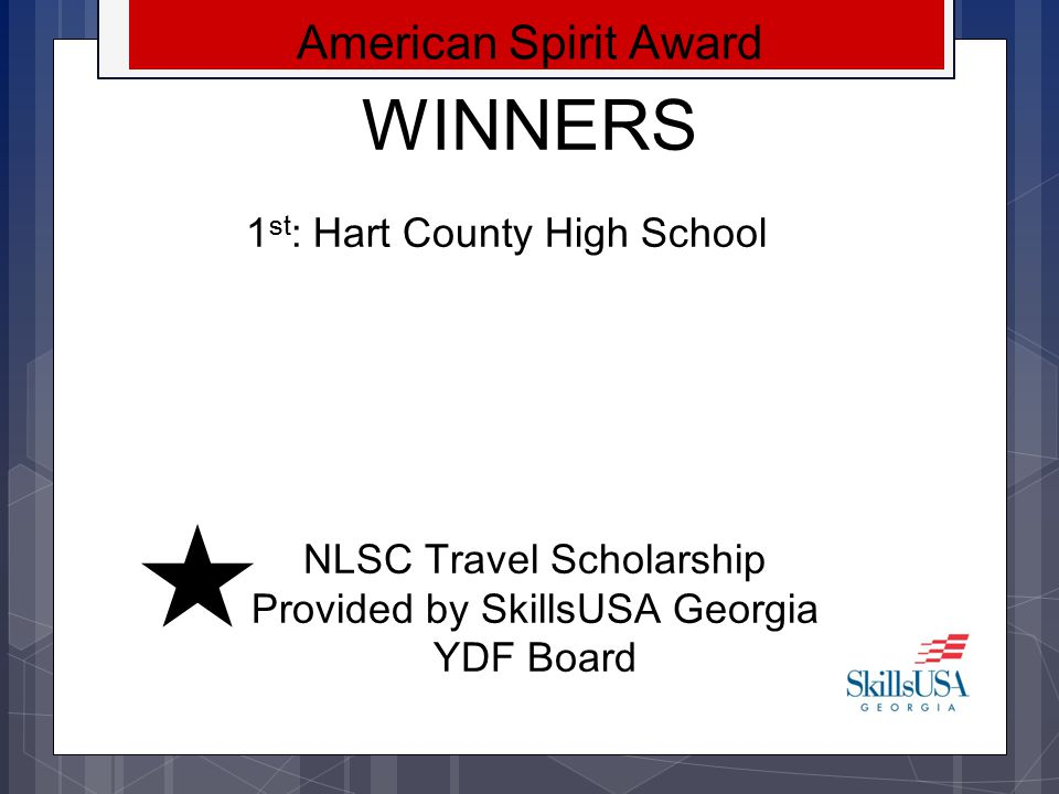 NLSC Travel Scholarship Provided by SkillsUSA Georgia YDF Board