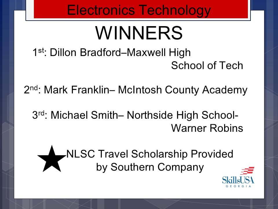 WINNERS Electronics Technology 1st: Dillon Bradford–Maxwell High