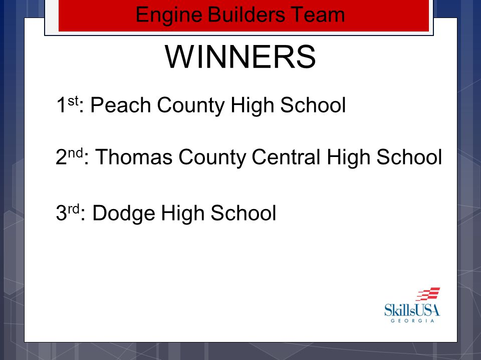 WINNERS Engine Builders Team 1st: Peach County High School