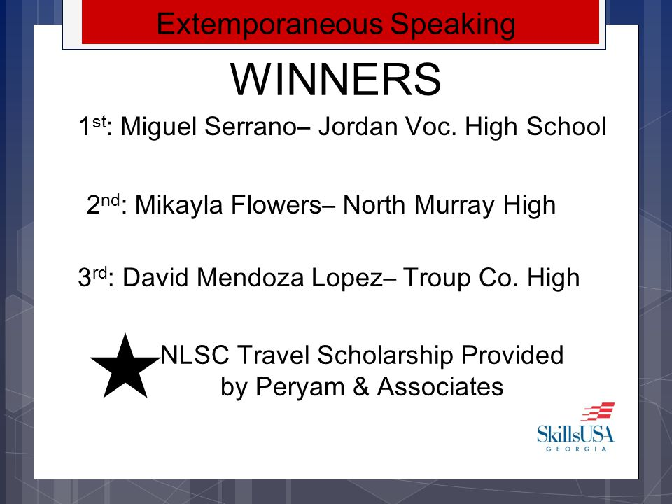 WINNERS Extemporaneous Speaking