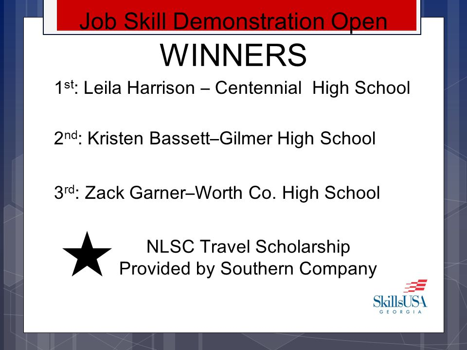 WINNERS Job Skill Demonstration Open