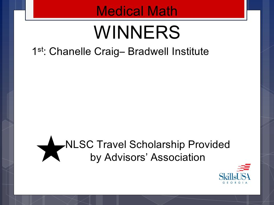 NLSC Travel Scholarship Provided by Advisors' Association