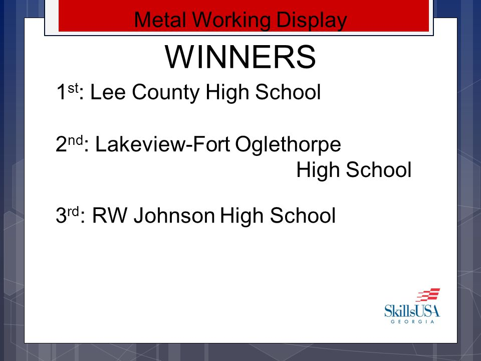 WINNERS Metal Working Display 1st: Lee County High School
