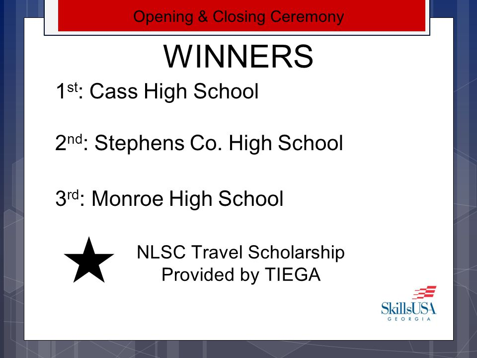 WINNERS 1st: Cass High School 2nd: Stephens Co. High School