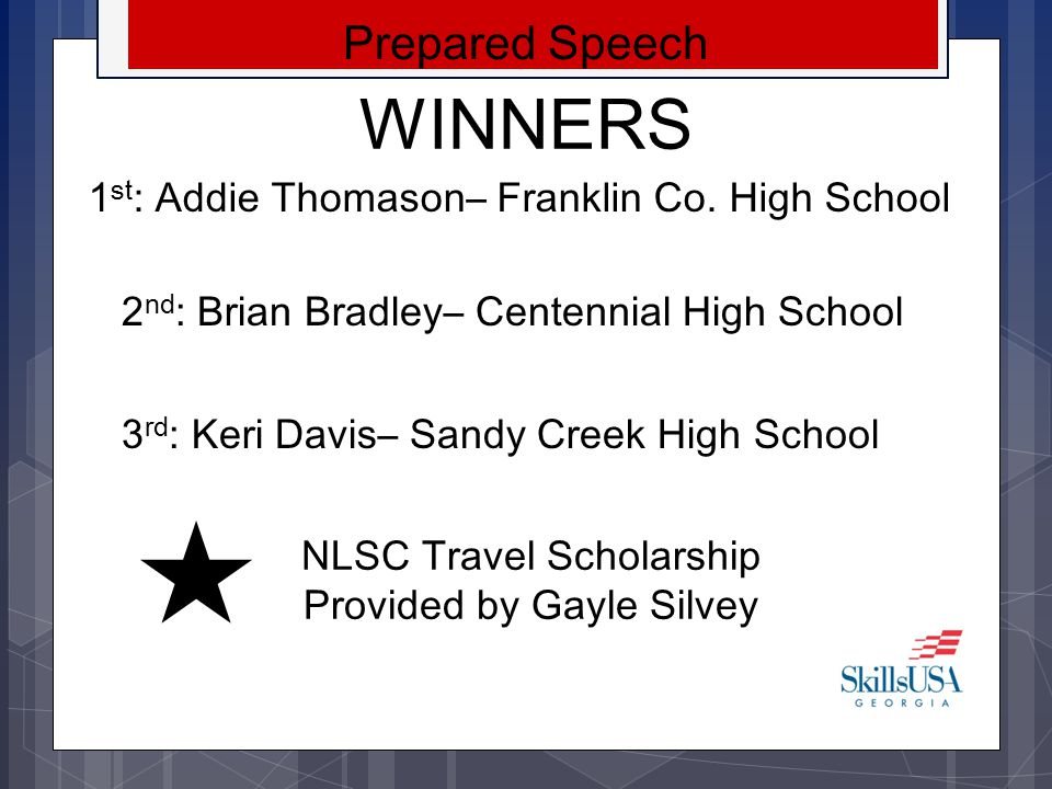 NLSC Travel Scholarship Provided by Gayle Silvey