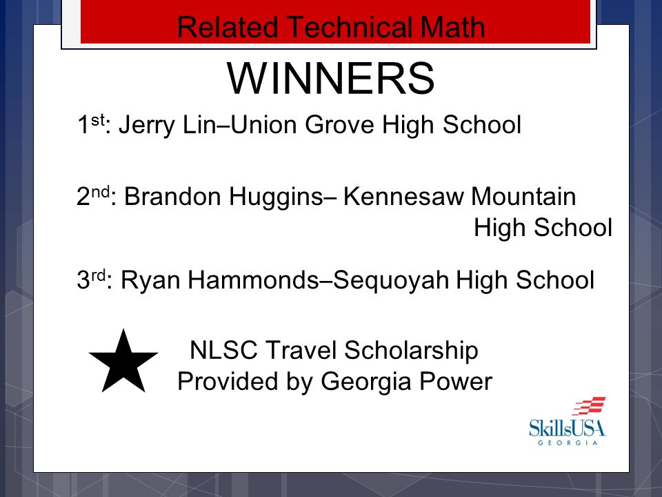 WINNERS Related Technical Math 1st: Jerry Lin–Union Grove High School
