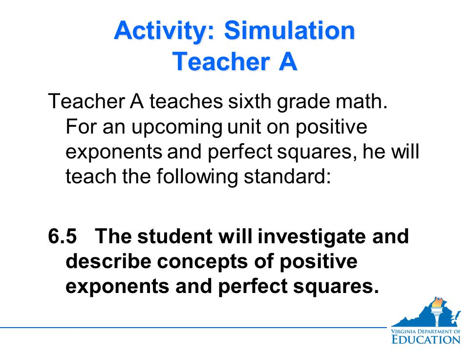 Activity: Simulation Teacher A