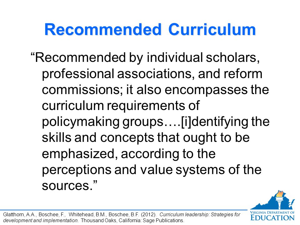 Recommended Curriculum