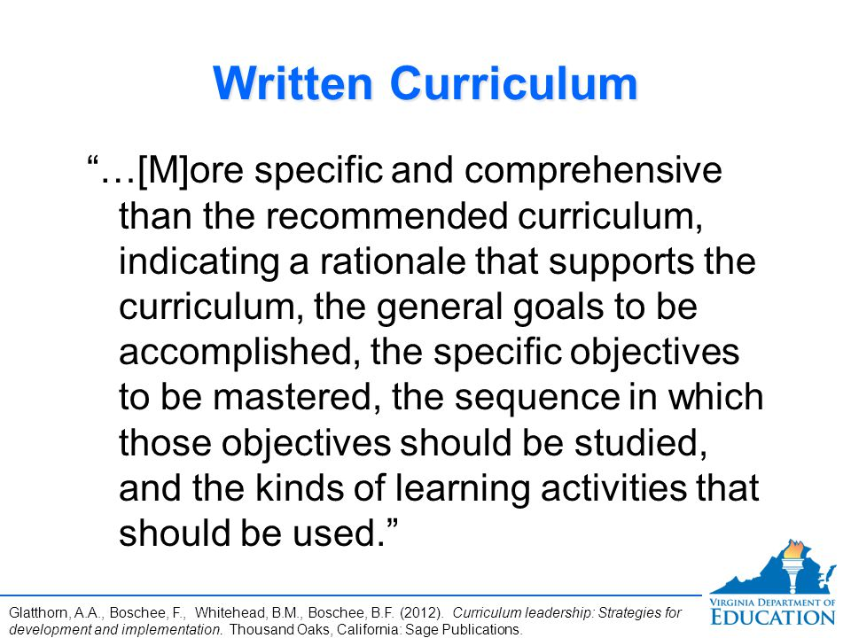 Written Curriculum