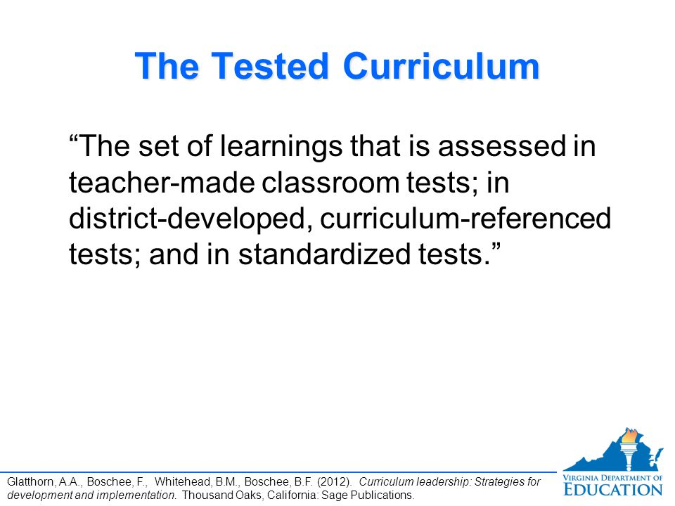 The Tested Curriculum