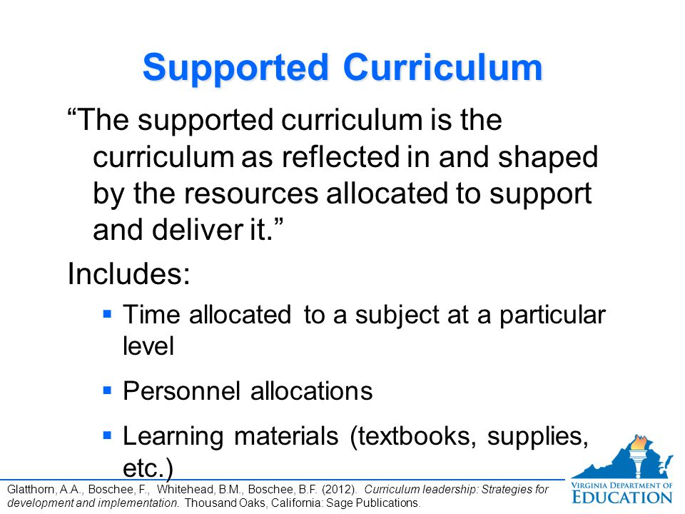 Supported Curriculum The supported curriculum is the curriculum as reflected in and shaped by the resources allocated to support and deliver it.