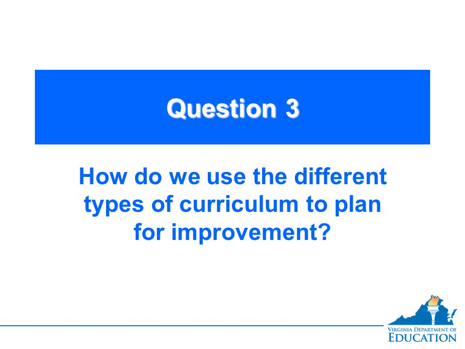 Question 3 How do we use the different types of curriculum to plan for improvement
