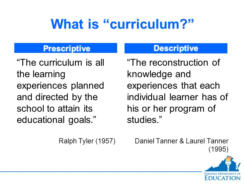 What is curriculum Prescriptive. Descriptive.