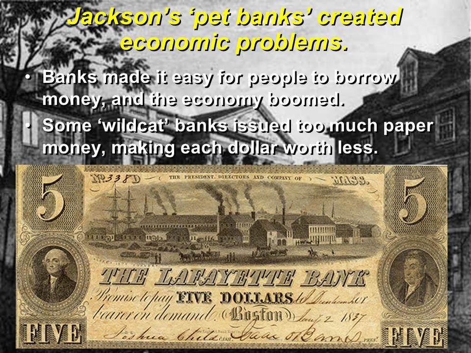 Jackson's 'pet banks' created economic problems.