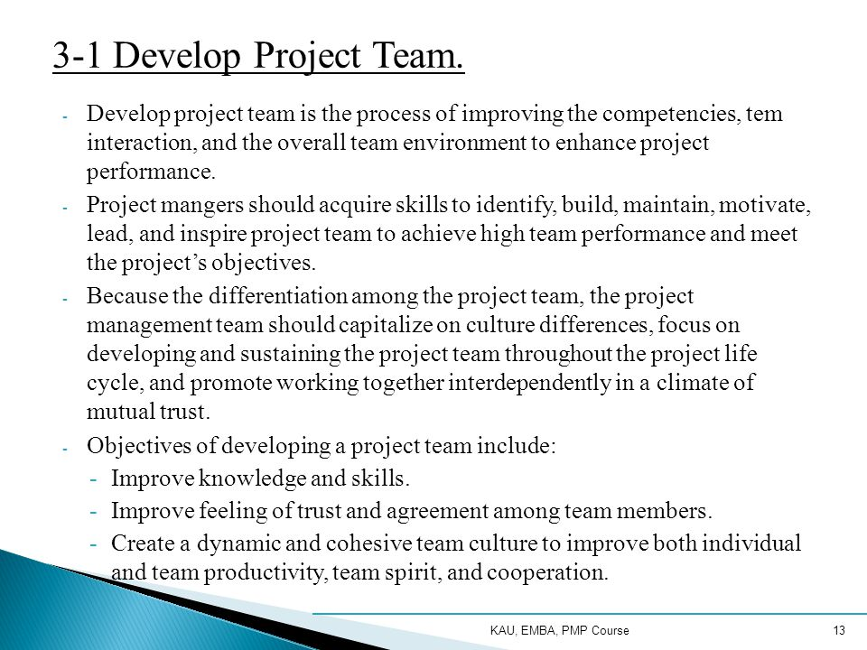 3-1 Develop Project Team.