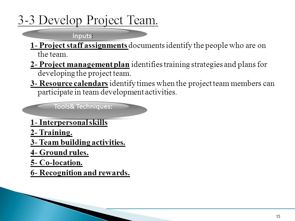 3-3 Develop Project Team. Inputs: 1- Project staff assignments documents identify the people who are on the team.