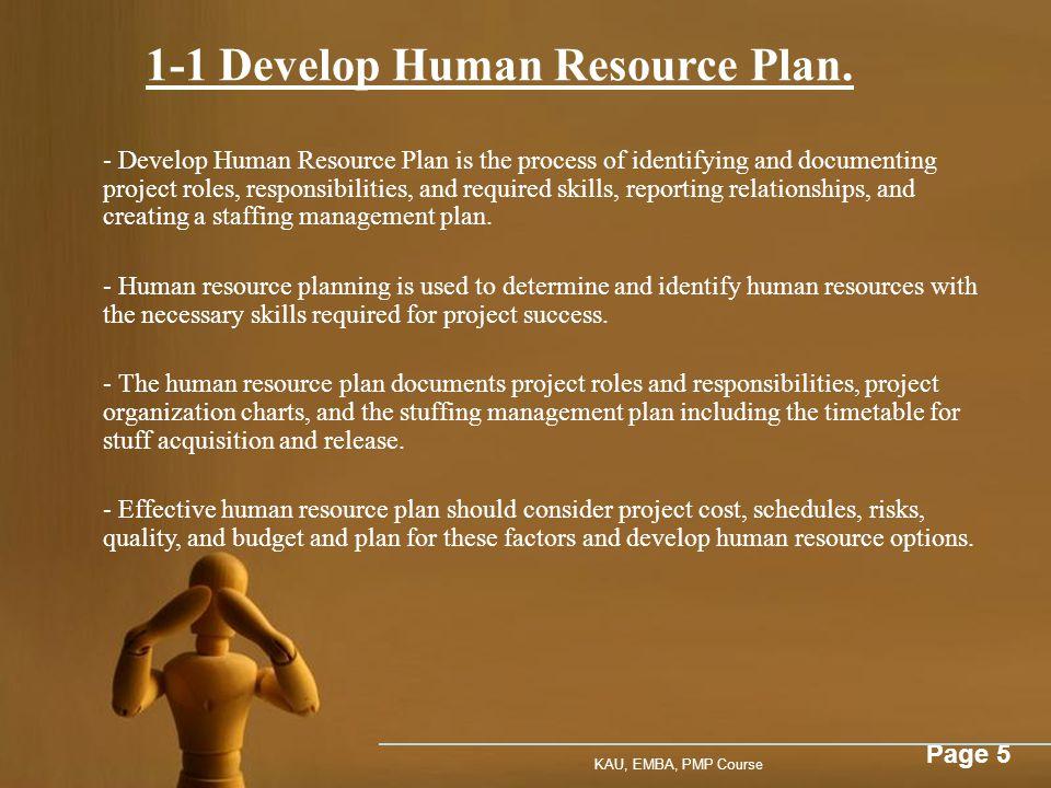 1-1 Develop Human Resource Plan.