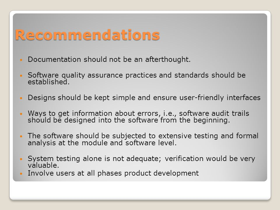 Recommendations Documentation should not be an afterthought.