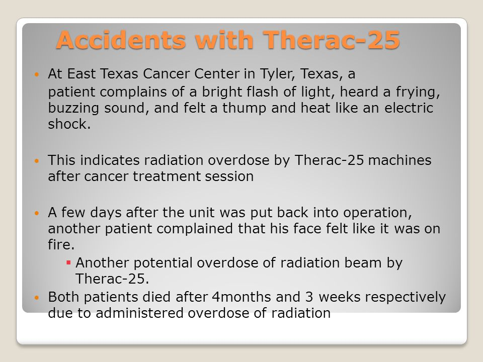 Accidents with Therac-25