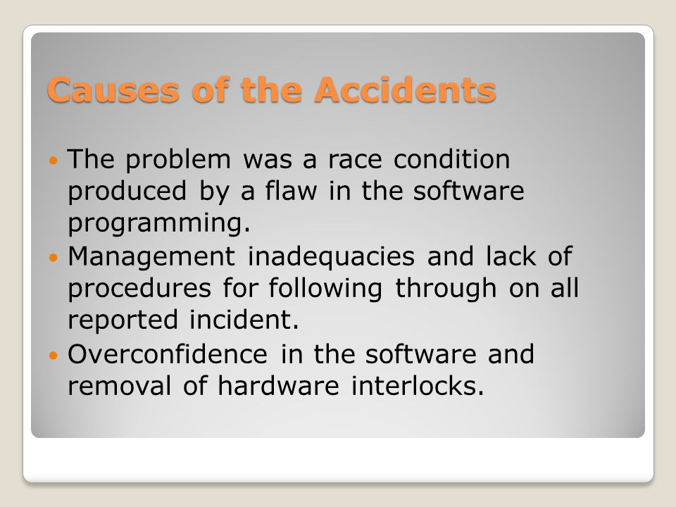 Causes of the Accidents