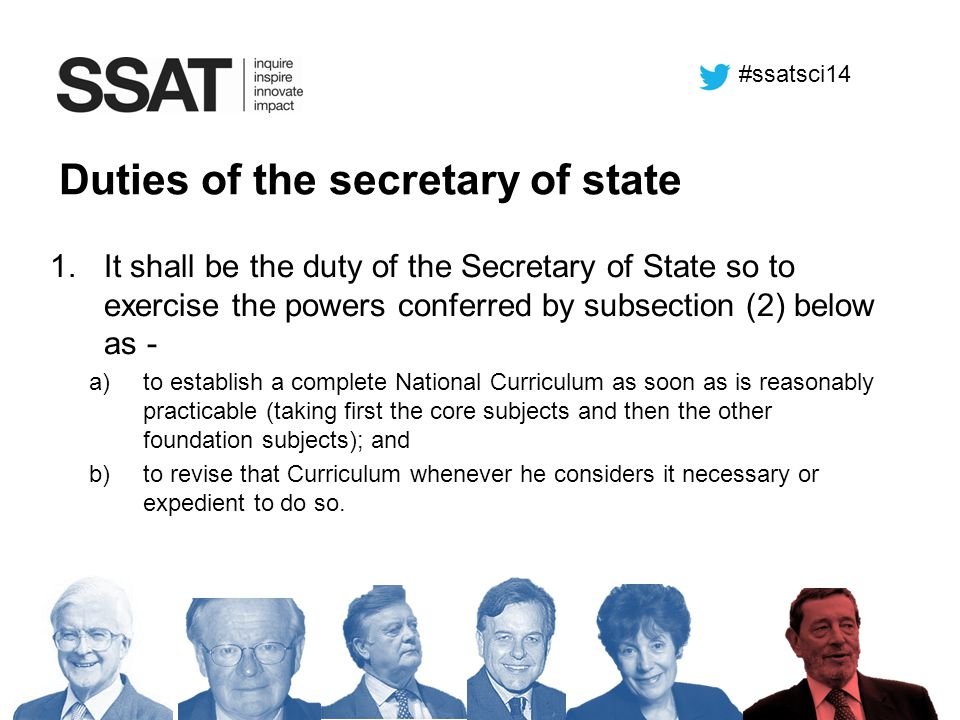 Duties of the secretary of state