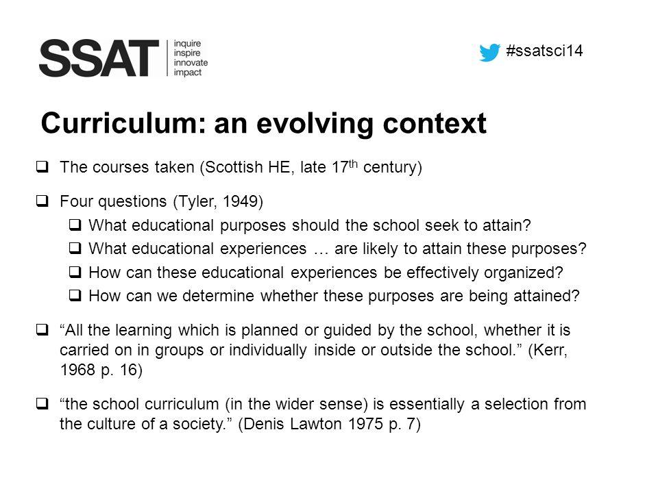 Curriculum: an evolving context