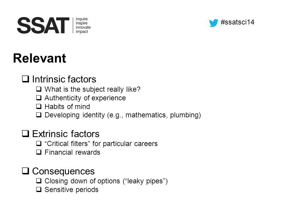 Relevant Intrinsic factors Extrinsic factors Consequences #ssatsci14