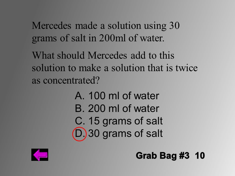 Mercedes made a solution using 30 grams of salt in 200ml of water.
