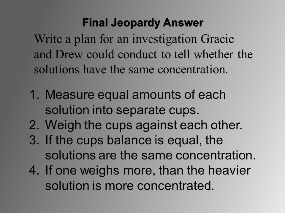 Measure equal amounts of each solution into separate cups.
