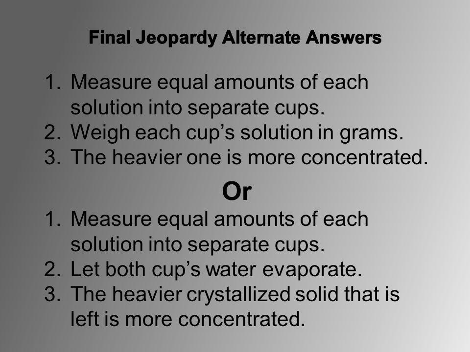 Final Jeopardy Alternate Answers