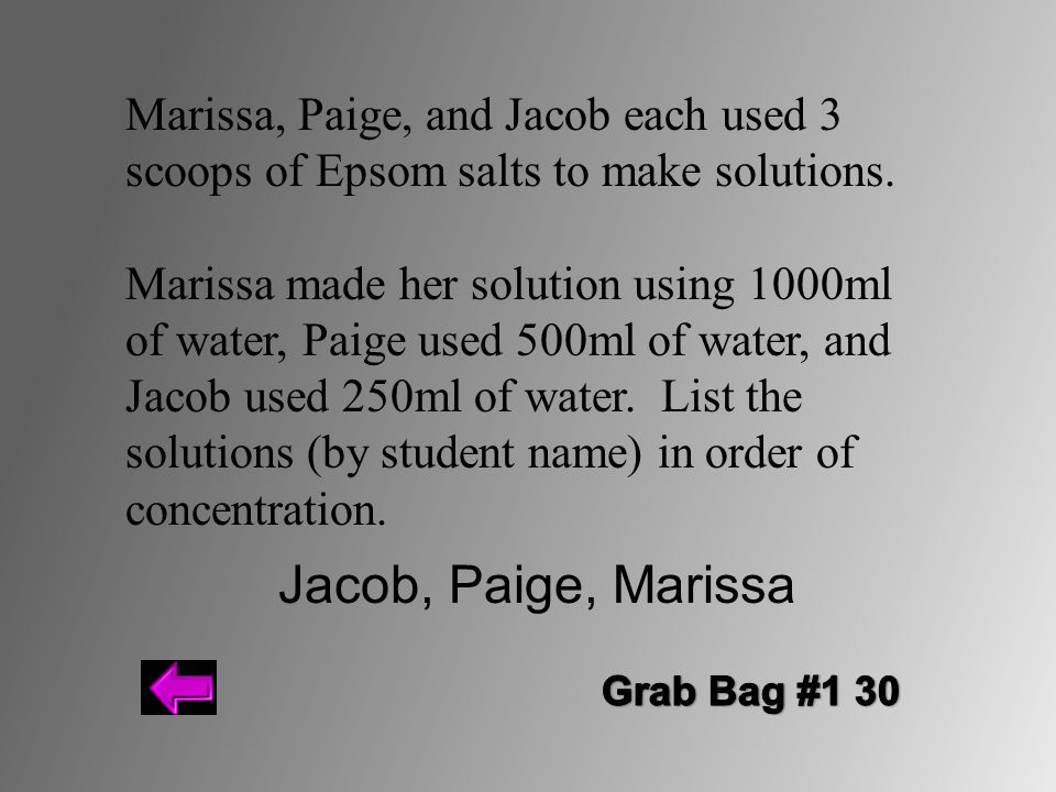 Marissa, Paige, and Jacob each used 3 scoops of Epsom salts to make solutions.