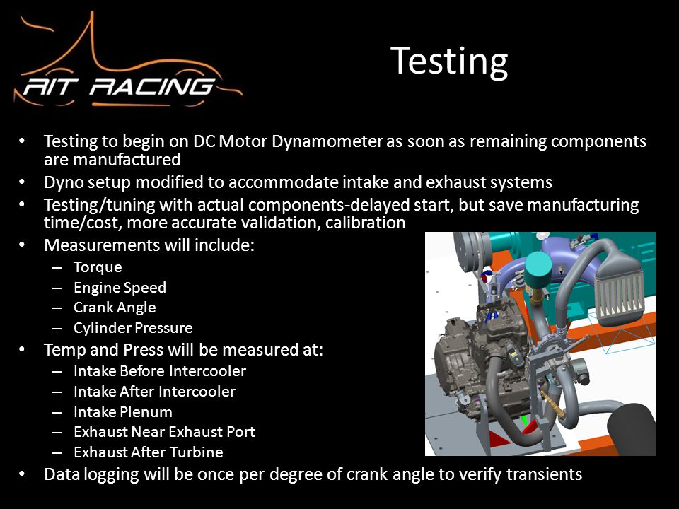 Testing Testing to begin on DC Motor Dynamometer as soon as remaining components are manufactured.