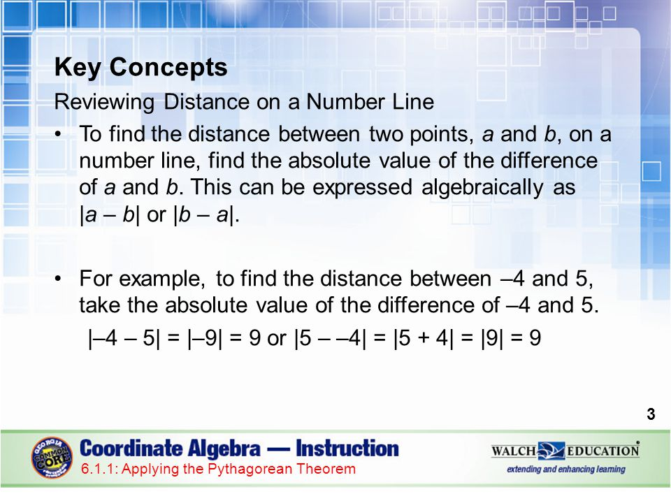 Key Concepts Reviewing Distance on a Number Line