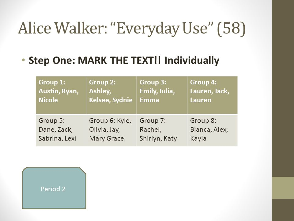 plot in alice walker's everyday use In the short story everyday use, alice walker crafts the character be said about alice walker's everyday use instrumental in the development of the plot.