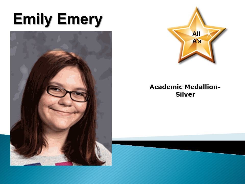 Emily Emery All A's Academic Medallion- Silver