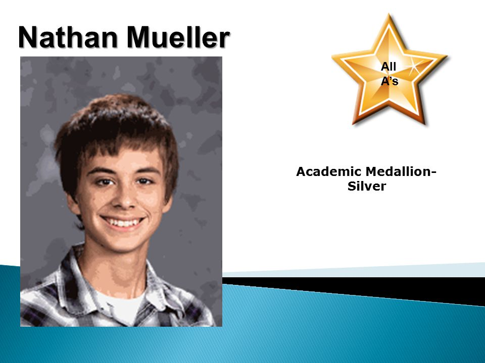 Nathan Mueller All A's Academic Medallion- Silver