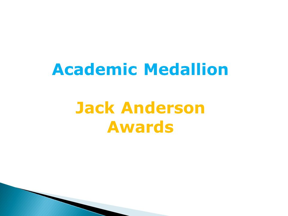 Academic Medallion Jack Anderson Awards