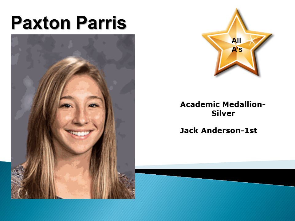 Paxton Parris All A's Academic Medallion- Silver Jack Anderson-1st