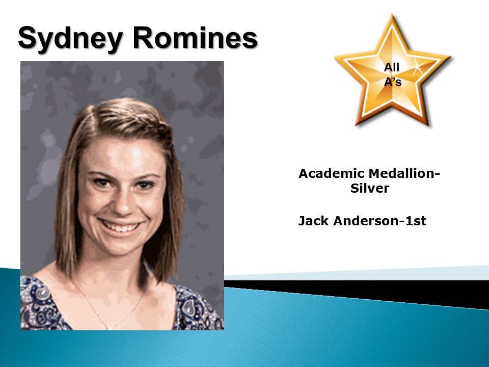 Sydney Romines All A's Academic Medallion- Silver Jack Anderson-1st