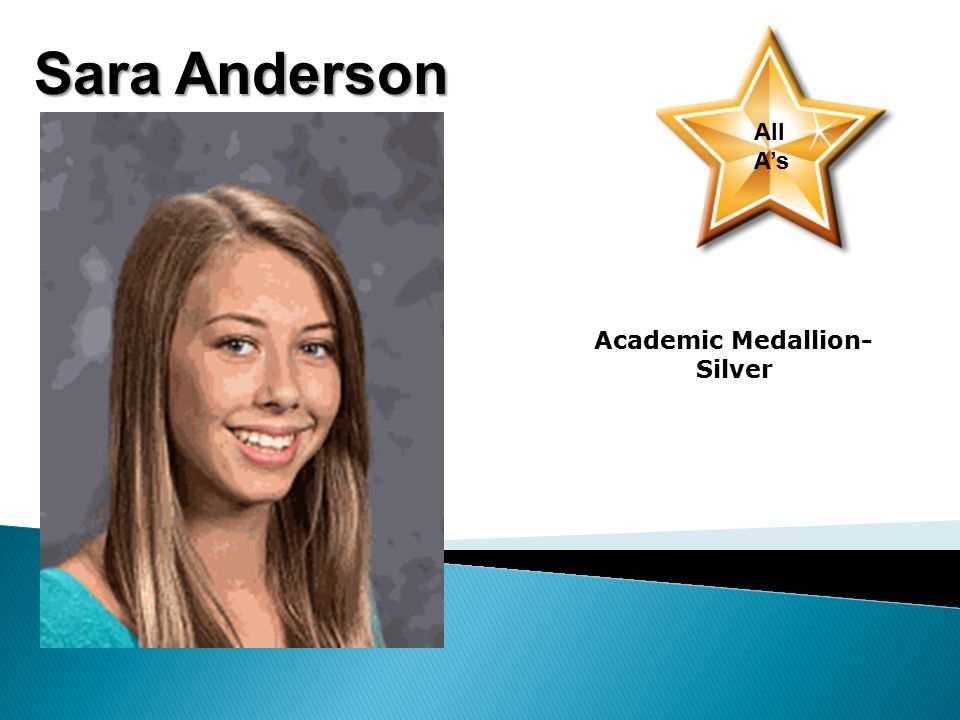Sara Anderson All A's Academic Medallion- Silver